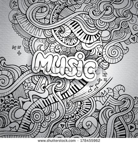 Drawn music notes notebook Иллюстрации/Клип арт арт Сток Сток