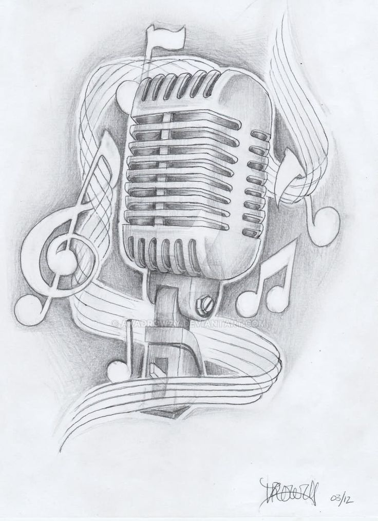 Drawn musical music mic By Microphone Notes Tattoo Pinterest