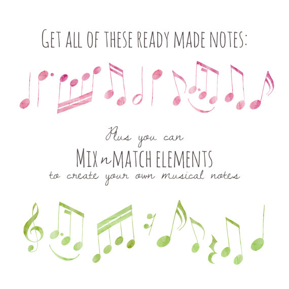 Drawn music notes old CLIP Music Clipart Notes ART:
