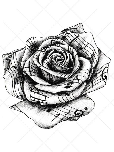 Drawn musical lover Be appears 25+ tattoo rose