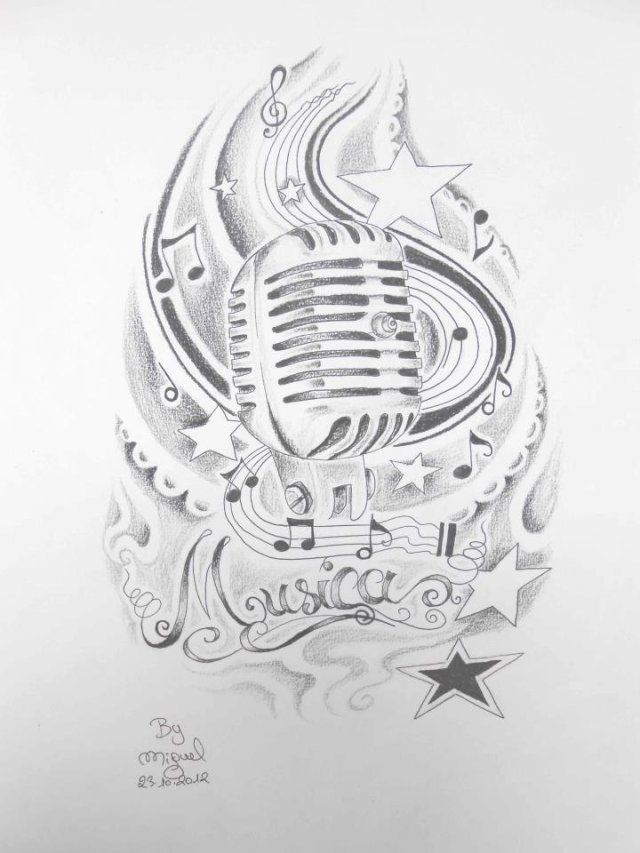Drawn music old style For tattoo best Tattoos 25