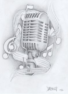 Drawn music notes old style Drawing Music Designs Note Tattoo