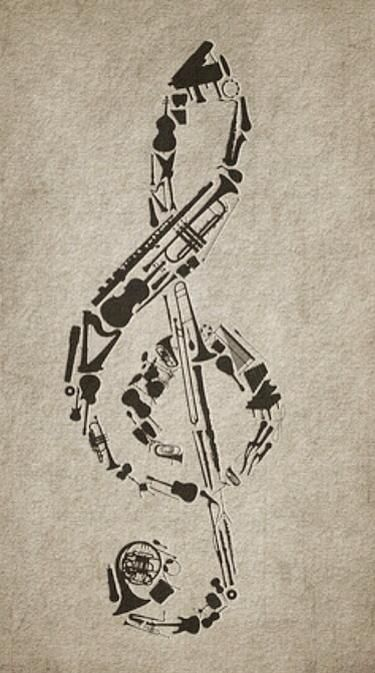 Drawn music notes old style Composed ideas of Treble on