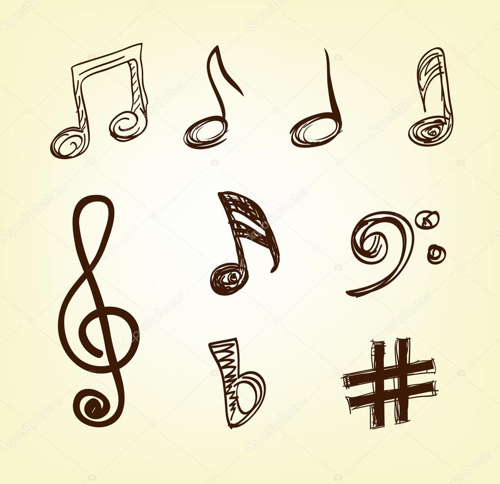 Drawn music notes outline Notes notes Stock drawn Vector