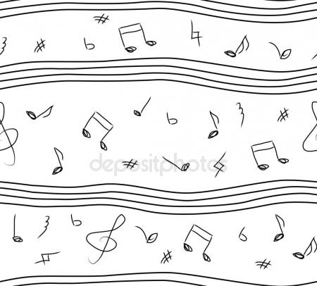 Drawn music notes paper Linear simple music white and