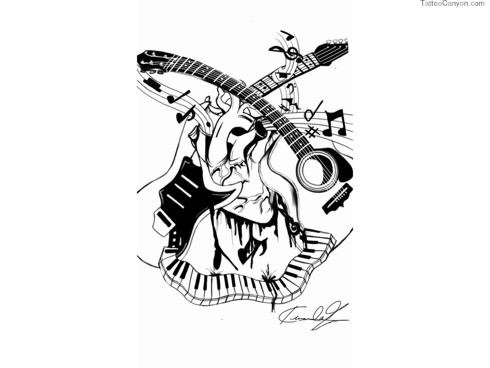 Drawn music notes paper Tattoo Music For Tattoo 18