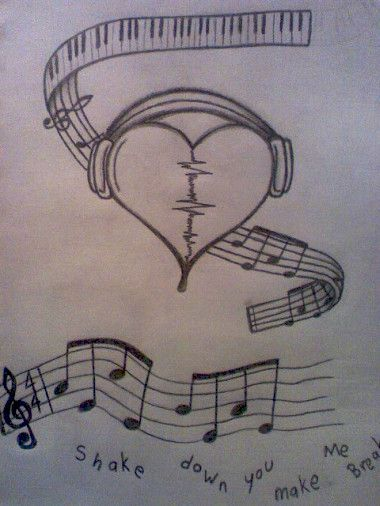 Drawn music pencil drawing Drawings pencil more ideas on