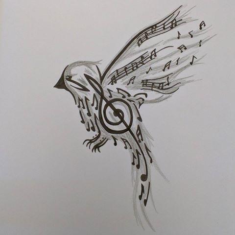 Drawn music notes pencil sketch Videos #quicksketches #notes #birdsofinstagram Nuño
