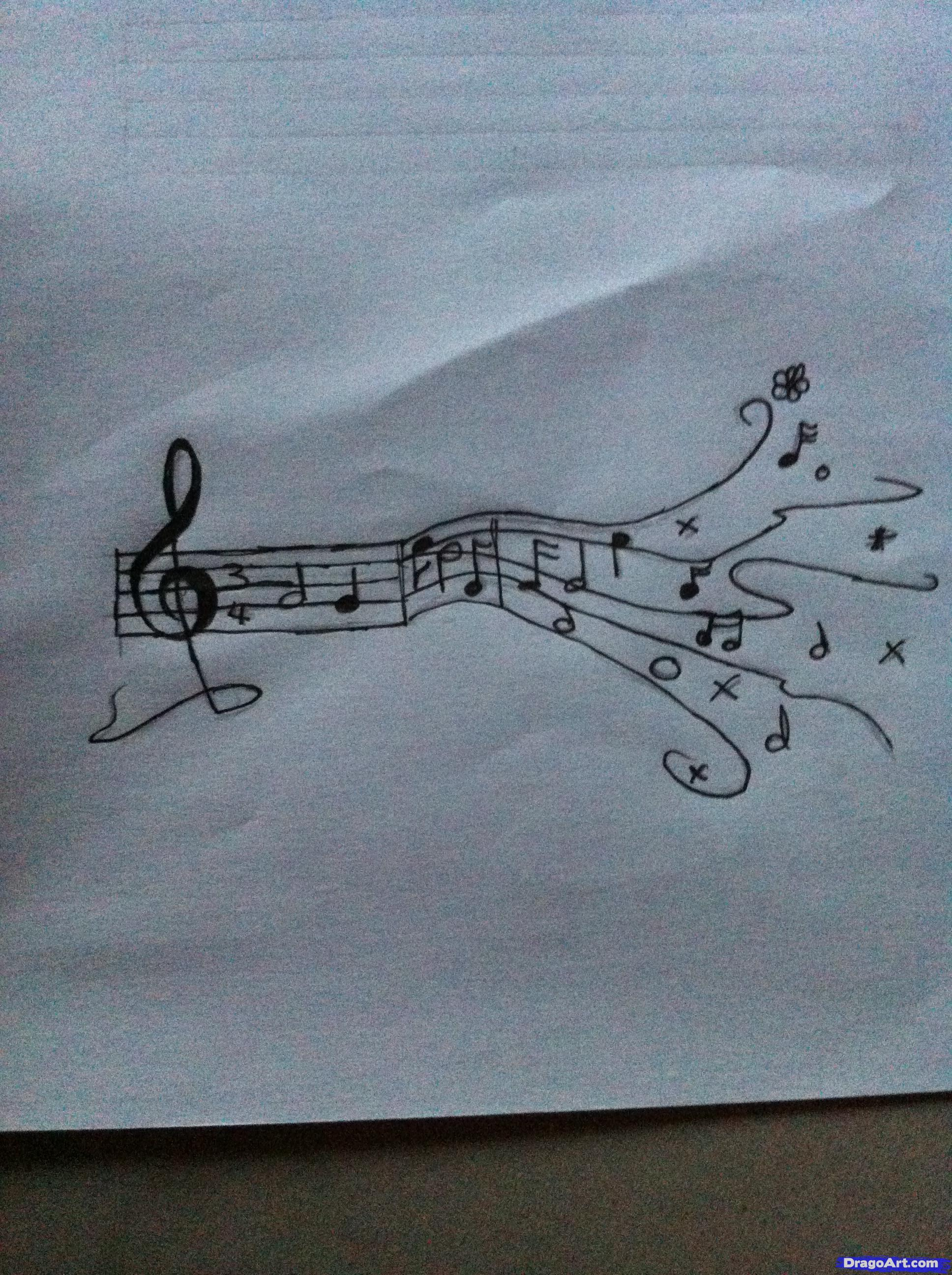 Drawn musician pencil drawing Music music Step notes Notes