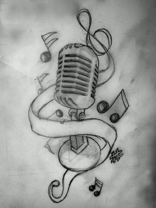 Drawn music beautiful heart Microphone sketch Old music ideas