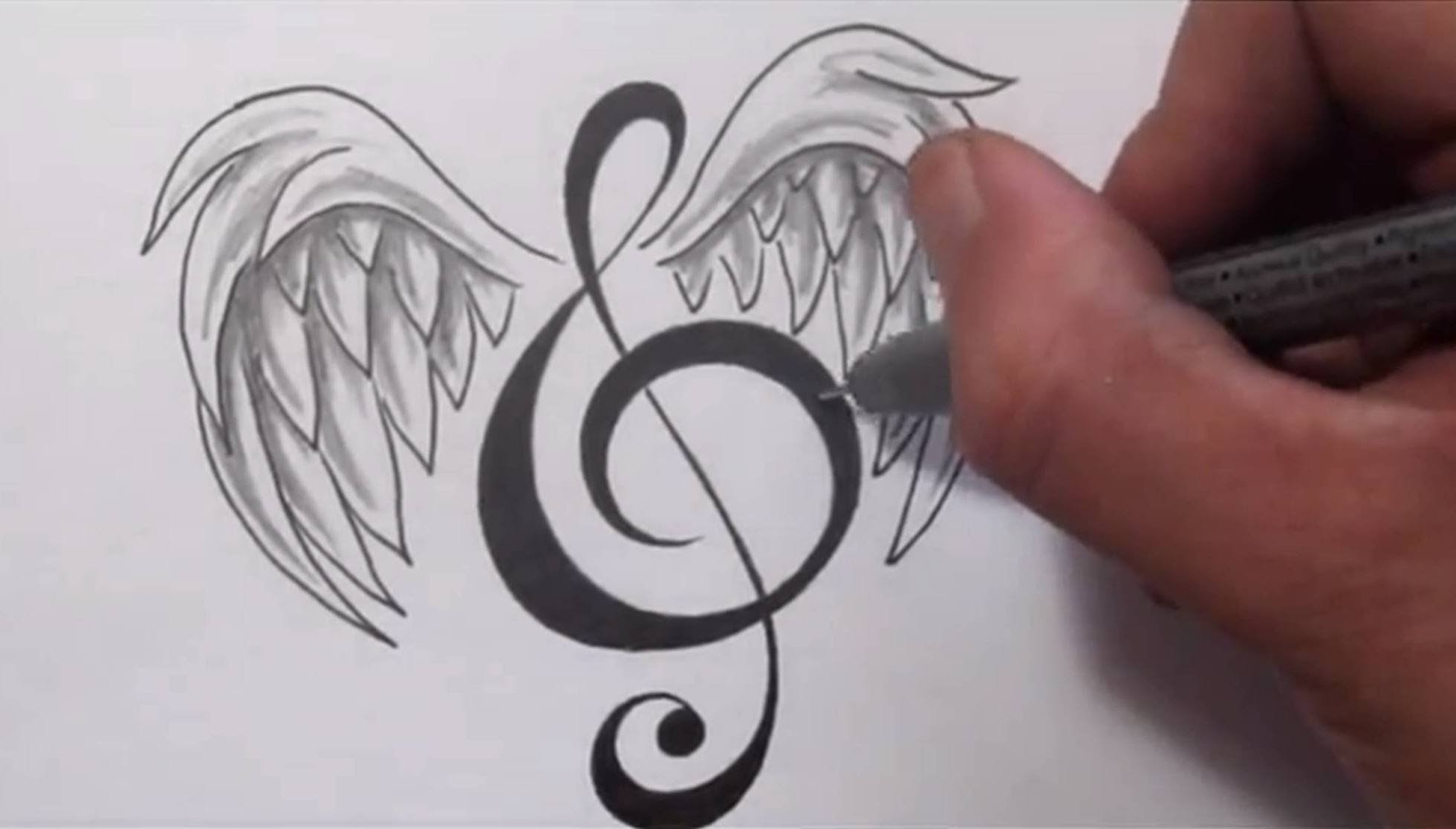 Drawn musician pencil drawing A Music Wings Tattoos YouTube