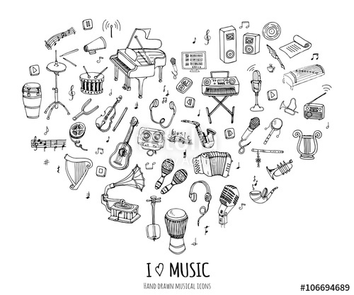 Drawn music notes piano Drawn concept Vector  Music