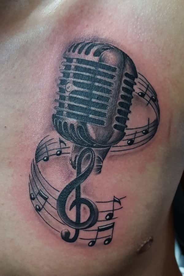 Drawn music notes radio microphone Microphone Notes Microphone Tattoos 22+