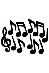 Drawn music notes rap music Black Cutouts 12pk Roll Musical