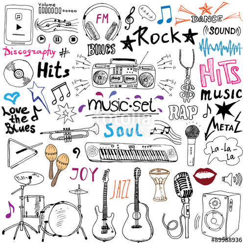 Drawn music notes rap music Doodle guitar icons signs drums