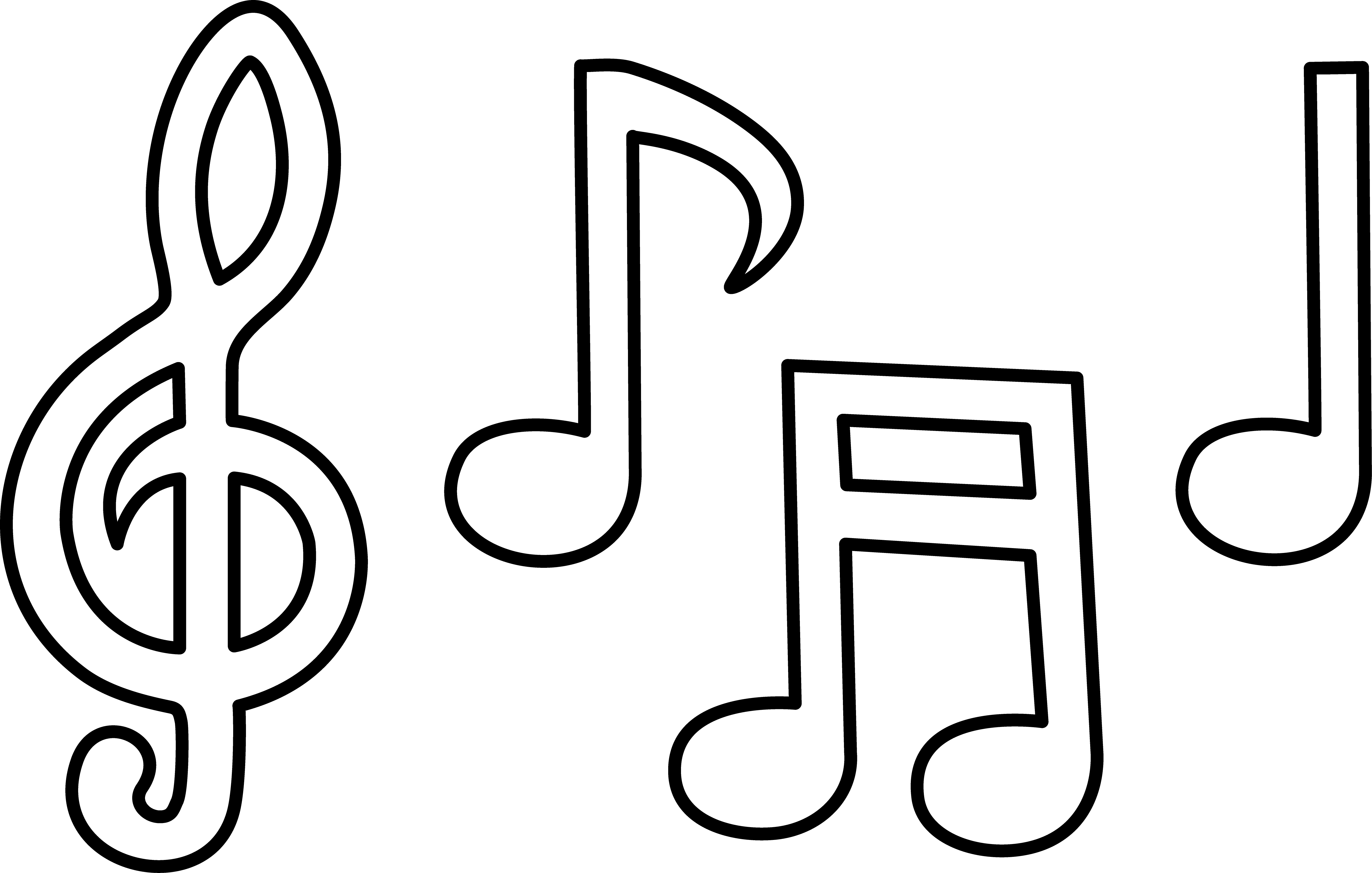 Drawn music notes rap music Clip Art Free Line Free