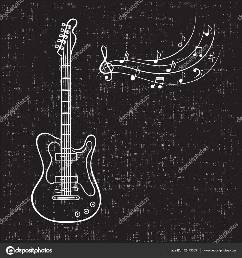 Drawn music notes retro Vintage Stock background guitar