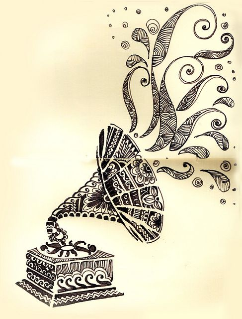 Drawn music notes retro Coming music Art only 25+