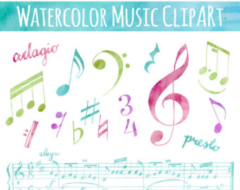 Drawn music notes ribbon // CLIP // Hand ART: