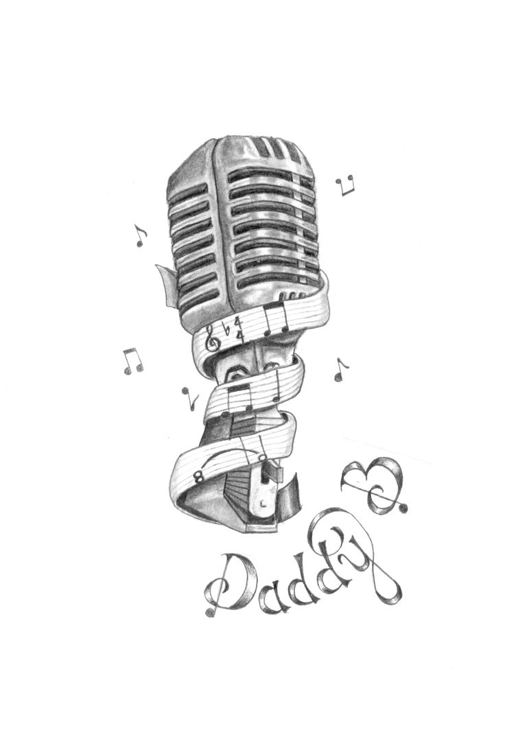 Drawn music notes ribbon The on drawn microphone illustration