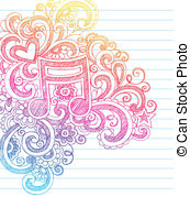 Drawn music notes rock star Sketchy Vectors  Music