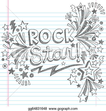 Drawn music notes rock star With to  Rock Vector