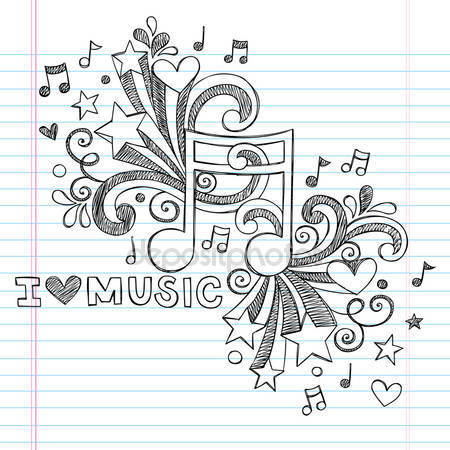 Drawn music notes rock star Hand to Music  Doodles