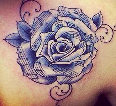 Drawn music notes sheet music Tattoo rose/flower notes tattoo 32
