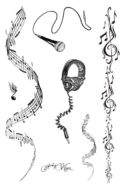 Drawn music notes sheet music 25+ Sheet music on tattoo