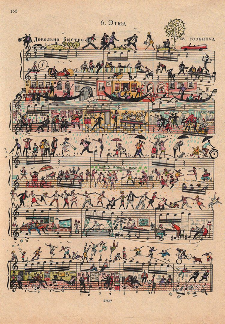Drawn music notes sheet music Sheet sheet art City vibrant