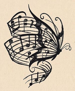 Drawn music notes single black Of Pyrography my Butterfly