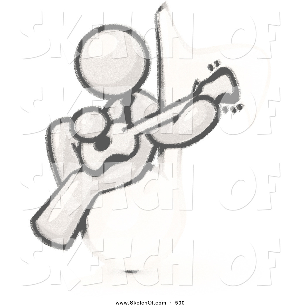 Drawn music notes sketched Music Man Drawing Sketched on
