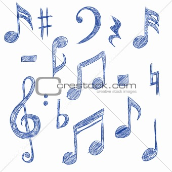 Drawn music notes sketched From 3474164: Photos Crestock Musical