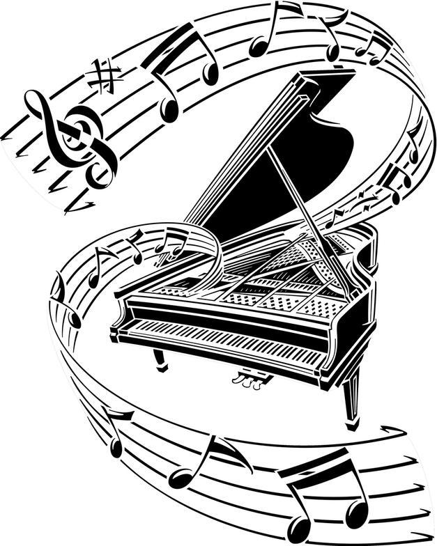 Drawn music notes stencil Stencil Music Notes com Piano