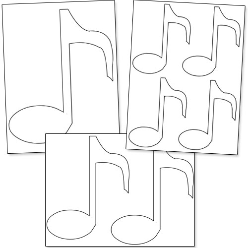 Drawn music notes stencil Printable Note Stencils Printable note