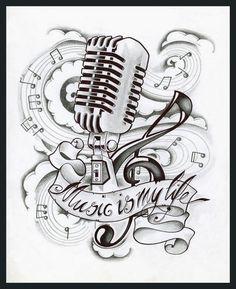 Drawn music notes studio microphone Drawings Pinterest drawing drawings Music