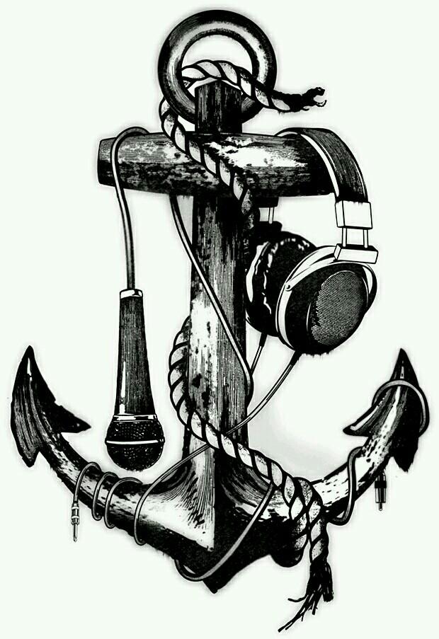 Drawn music 50's Music Tattoo Microphone Notes Akadrowzy