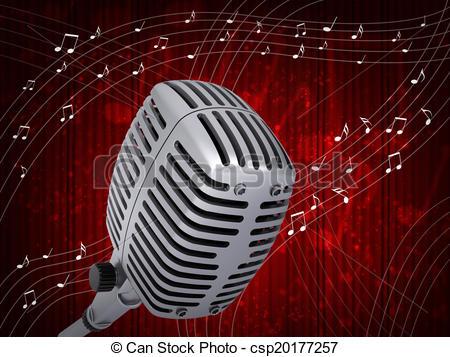 Drawn music notes studio microphone  csp20177257 Studio Clipart Music