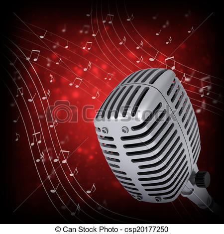 Drawn music notes studio microphone Red  csp20177250 Music microphone