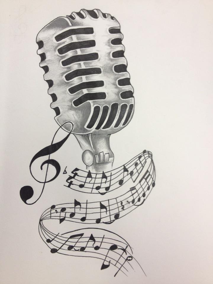 Drawn musical music mic Drawing vintage Drawing tattoo this