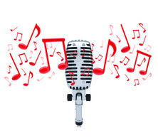 Drawn music notes studio microphone Red  microphone Music microphone