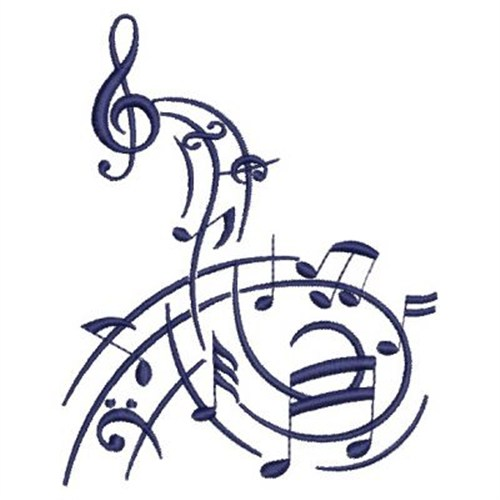 Drawn music notes swirl LargeImg Embroidery Designs Music Notes