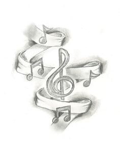 Drawn music notes symbol art #6