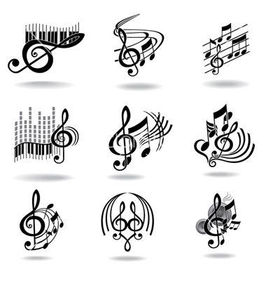 Drawn music notes symbol art #7