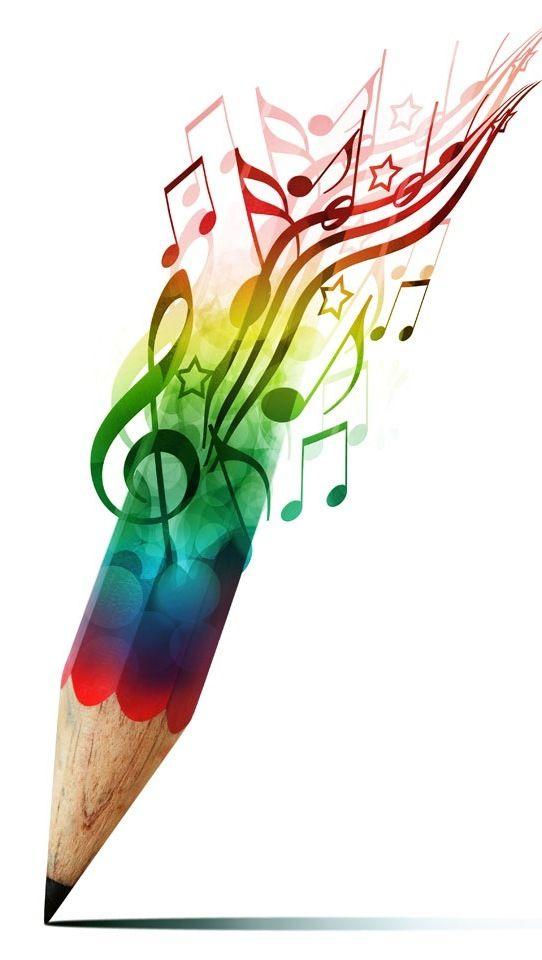 Drawn music notes symbol art #10