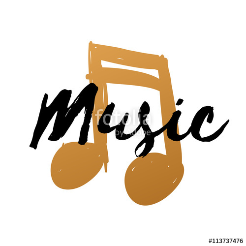 Drawn music notes text Illustration note drawn gold doodle