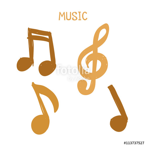 Drawn music notes text Design Hand Set of white