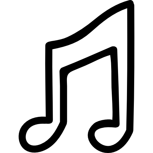 Drawn music notes transparent white Icons hand Free outline icon