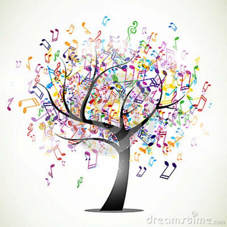 Drawn music notes tree On  White background Black