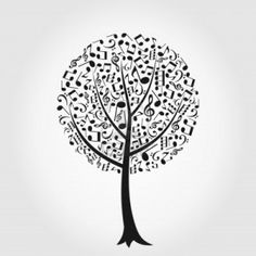 Drawn music notes tree Stock coloring very difficult Notes